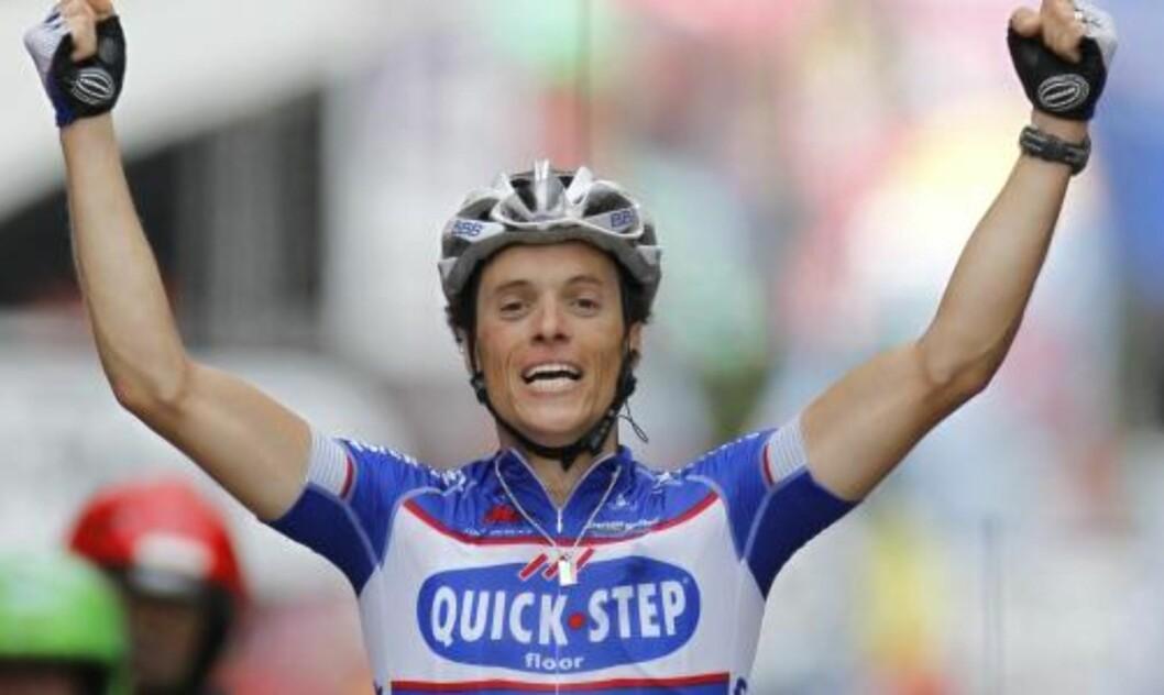 <strong>VERDIG VINNER:</strong> Sylvain Chavanel startet selv et brudd tidlig på etappen, og var til slutt eneste mann igjen. Han vant sin andre Tour-etappe i karrieren.Foto: Laurent Rebours, AP/Scanpix