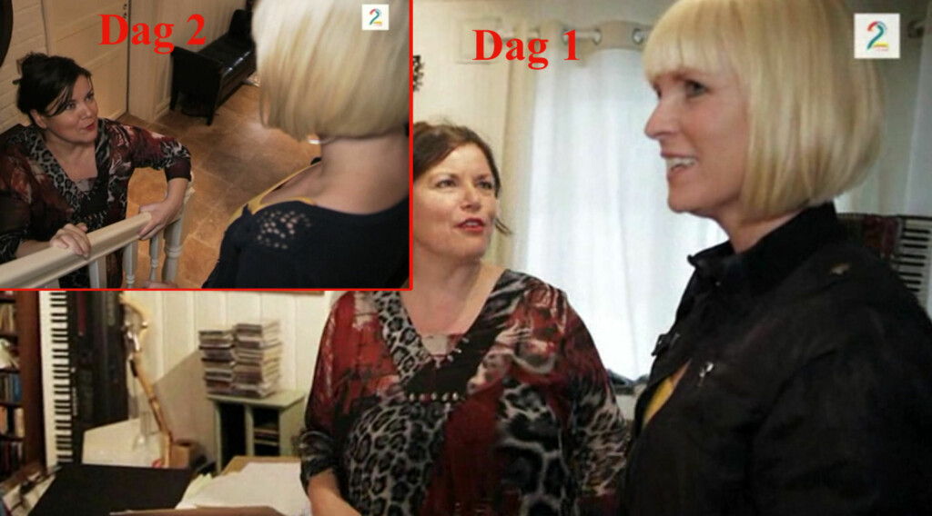 AVSLØRT AV KLÆRNE: Flere har lagt merke til at kjendisene ikke skifter klær når Kristin Skogheim bor hjemme hos dem.  Foto: TV2