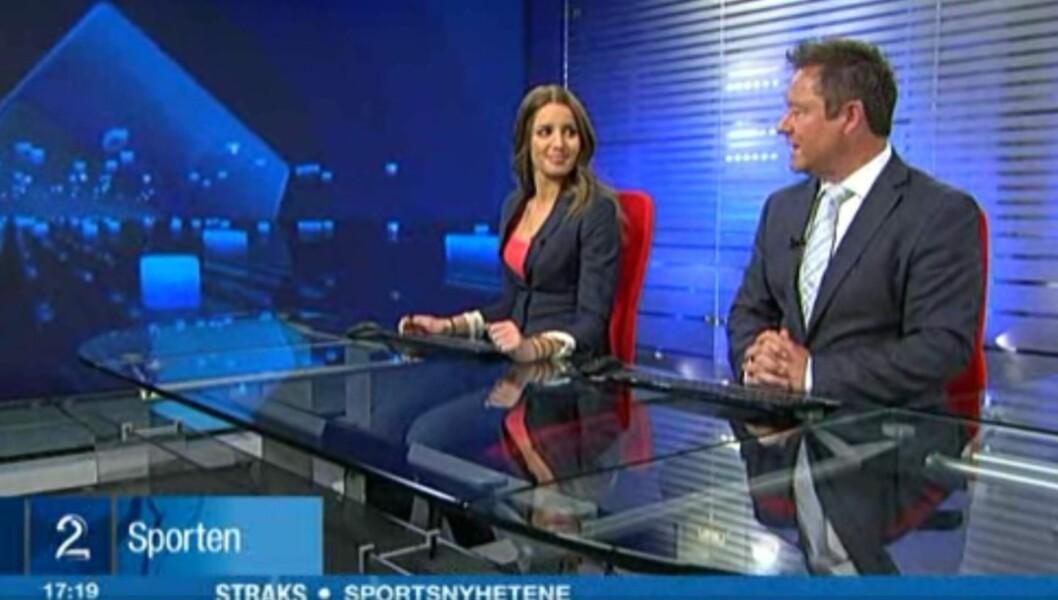 LYDTABBE: Det gikk skeis med lyden rett etter at Susanne Wergeland hadde overtatt skjermen fra nyhetsanker Morten Sandøy i går kveld. Foto: Fra TV 2-sendingen