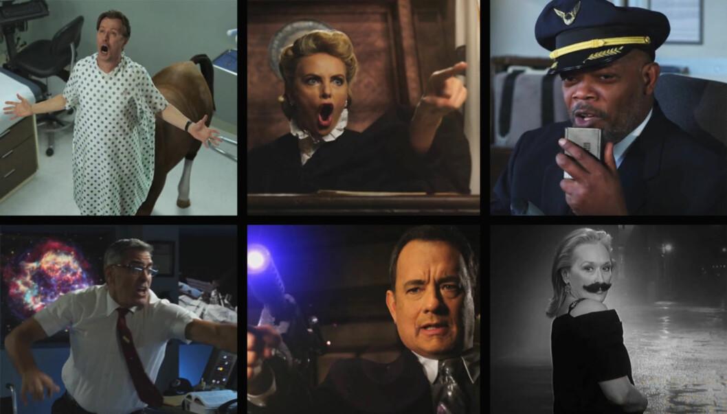 STILLER OPP FOR JIMMY: Gary Oldman, Charlize Theron, Samuel L. Jackson, George Clooney, Tom Hanks og Meryl Streep er bare noen av kjendisene som stiller opp i den nye videoen til Jimmy Kimmel. Foto: fra videoen