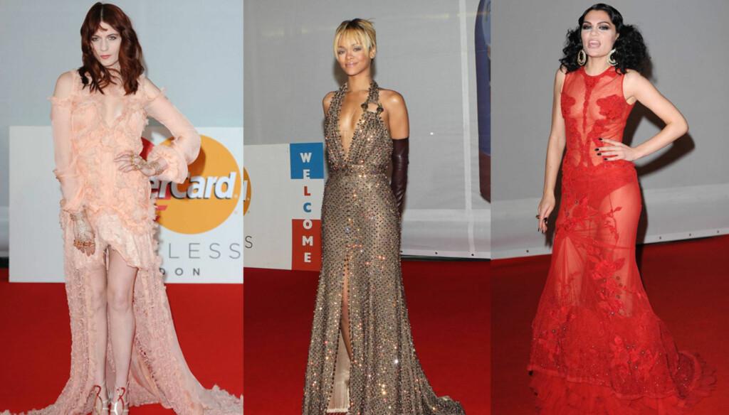 DRISTIG: Mange stjerner, som Florence Welch, Rihanna og Jessie J valgte lange kjoler med høy splitt og dristig utringning under tirsdagens Brit Awards.  Foto: All Over Press