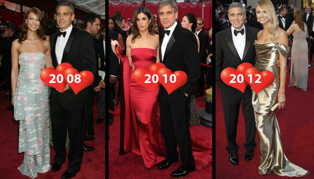 ALLE GODE TING ER TRE?: George Clooney kom på Oscar-showet med Sarah Larson i 2008, Elisabetta Canalis i 2010 og Stacy Keibler i 2012. Foto: All over press
