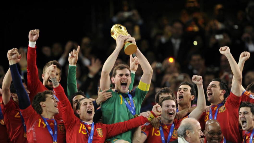<strong>VM-VINNERE:</strong> Flere av spørsmålene i VM-quizen handlet om verdensmester Spania. Foto: AFP PHOTO/JAVIER SORIANO