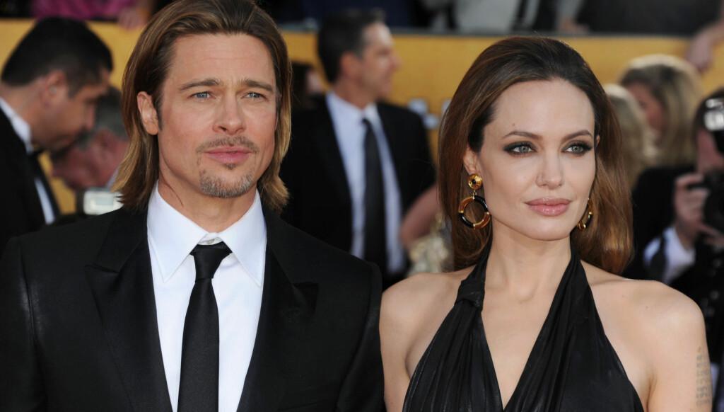 BEKYMRET: Venner og familie skal være svært bekymret for vekten til Angelina Jolie. Her er hun sammen med kjæresten Brad Pitt på SAG-Awards.  Foto: All Over Press