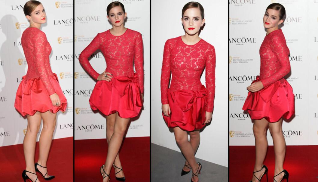 VALENTINO-KJOLE: Watson skal ifølge OK Magazine ha fått de oppmøtte til å gispe da hun viste seg fram i den røde Valentino-kjolen. Foto: All Over Press
