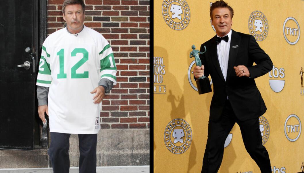 FØR/NÅ: Baldwin har gått ned hele 14 kilo på fire måneder etter å ha kuttet ut sukker. Foto: All Over Press