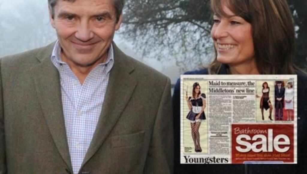 FREKKE ANTREKK: Michael og Carole Middleton selger nå frekke antrekk på sin webside.  Foto: Faksimile fra Daily Mail