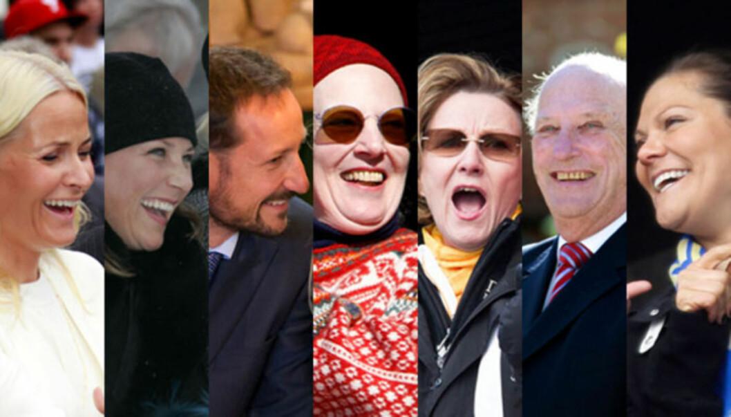 LER OG LER: Den skandinaviske kongefamilien er kjent for sin folkelighet og lettsittende latter. Foto: Stelle og Scanpix