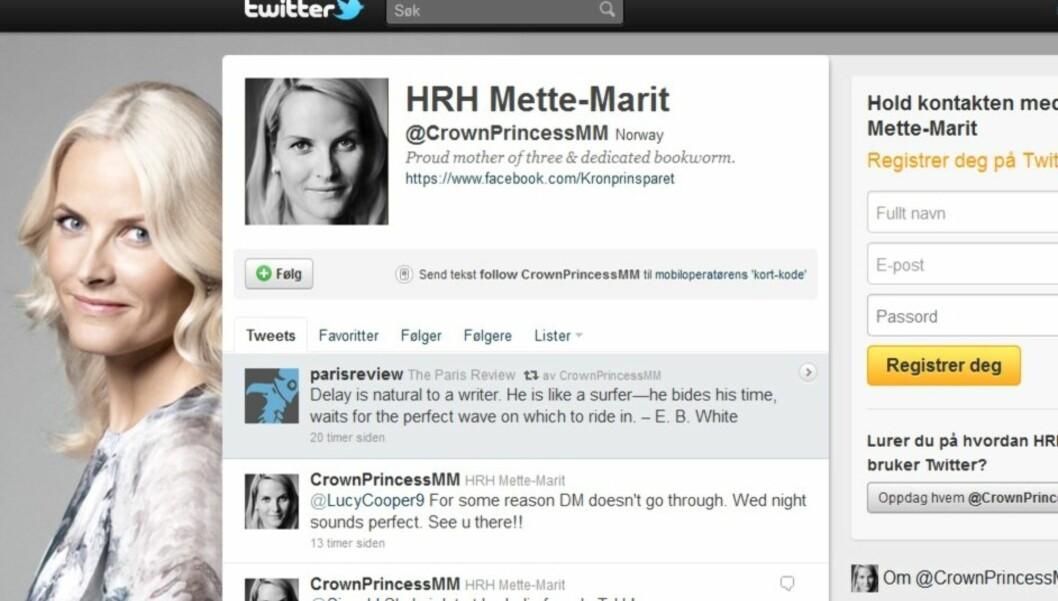 TWITRER: Kronprinsesse Mette-Marit opprettet en egen Twitter-konto på onsdag.