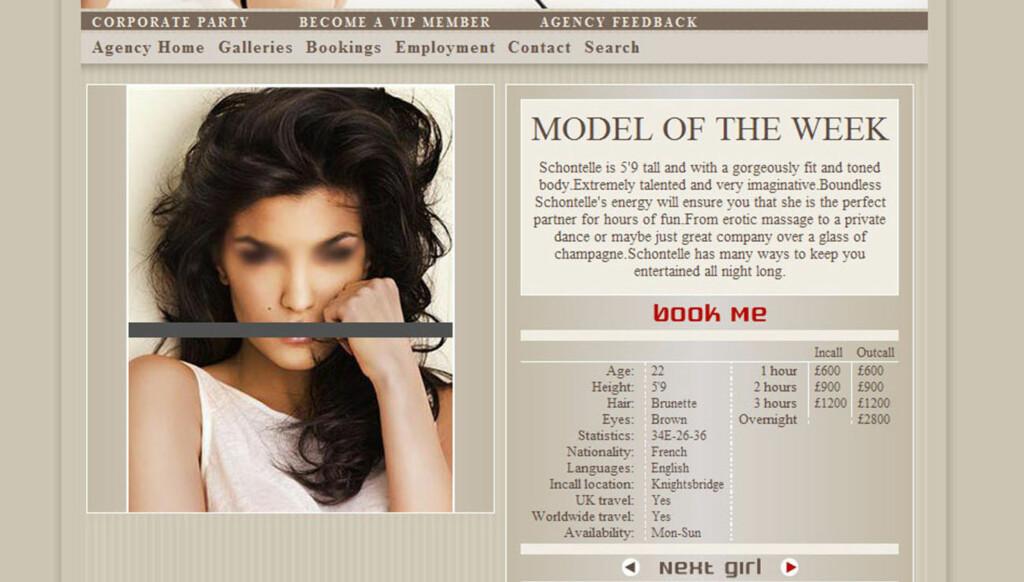 MISBRUK: Under tittelen «ukens modell» ligger en rekke bilder av Aylar på et britisk nettsted for luksusprostituerte. Den britiske ekskortetjenesten har for anledningen kalt Aylar for «Shontelle». Foto: Fra nettsiden
