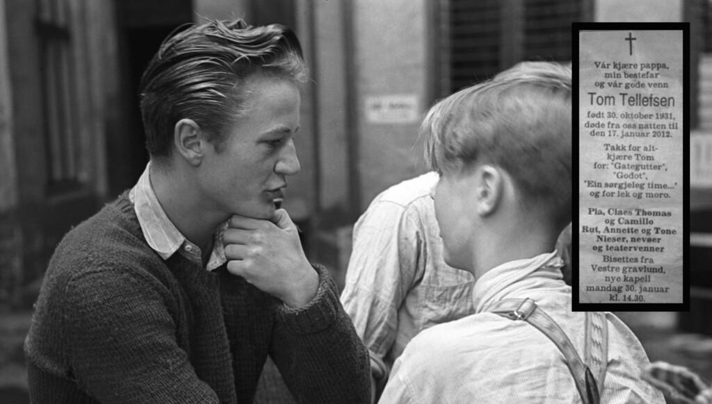 LEGENDARISK: Tom Tellefsen ble allemannseie etter sin innsats i filmen Gategutter, som ble spilt inn i Oslo i 1949.  Tom Tellefsen (til venstre) spilte Karsten i filmen, som var basert på en bok av  Arne Skouen. Skouen hadde også regien. Foto: Scanpix
