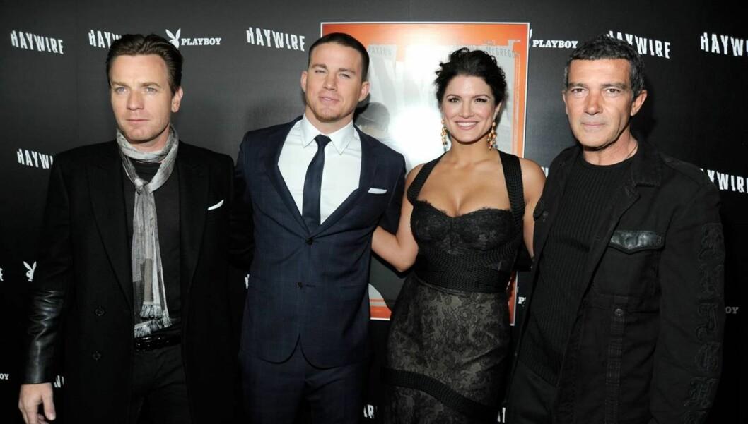 CELEBERT: Ewan McGregor, Channing Tatum, Gina Carano og Antonio Banderas spiller alle i action-thrilleren Haywire. Foto: All Over Press