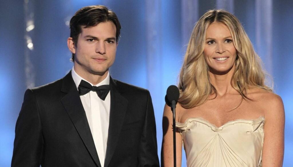 SAMMEN: Asthon Kutcher og Elle MacPherson delte ut pris under Golden Globe-showet som var i helgen.
