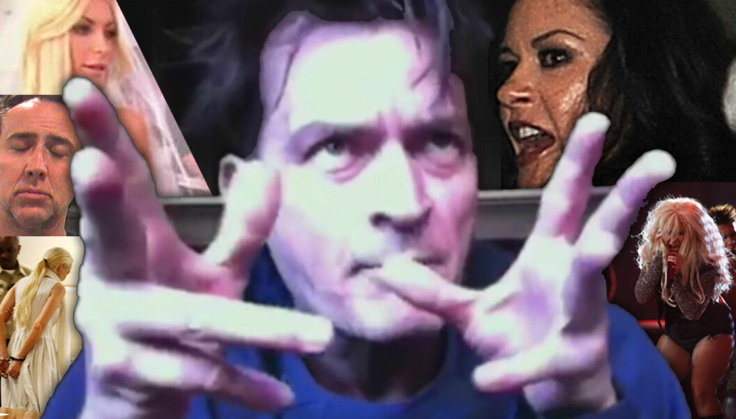 I SKYGGEN AV CHARLIE: Skandalene har stått i kø blant kjendisene i 2011, men ingen har stått for flere enn Charlie Sheen.  Foto: All over press/Stella pictures/Montasje Seher.no