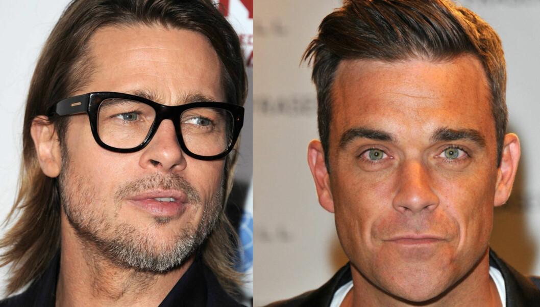DRØMMER OM BRAD: Robbie Williams spøker med at han godt kunne hatt en het natt med Brad Pitt.  Foto: All Over Press