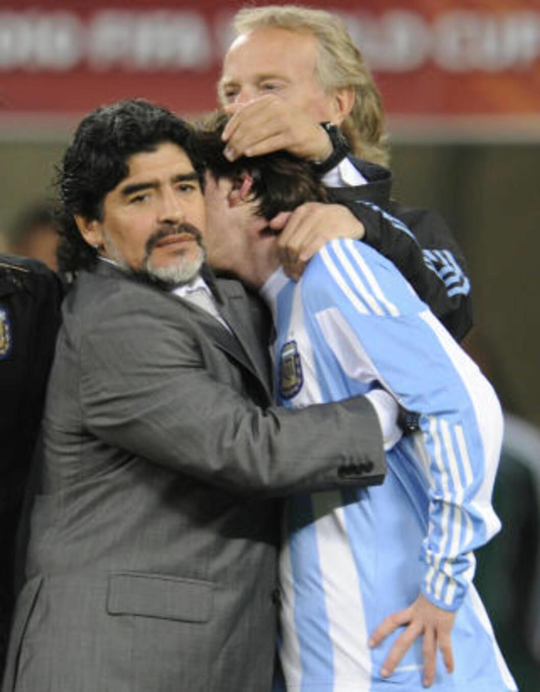 <strong>FERDIG:</strong> Kvartfinaletapet mot Tyskland i VM, ble Diego Maradonas siste opptreden som argentinsk landslagssjef.Foto: SCANPIX