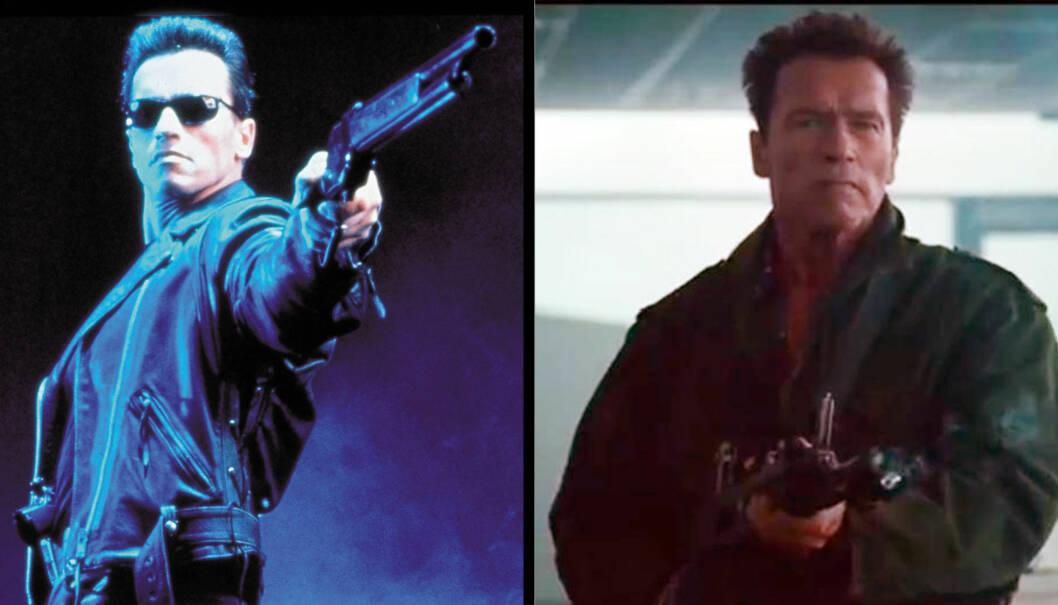 I AM BACK: «I'll be back», lovte Arnold Schwarzenegger gang på gang i Terminator-filmane (bildet til venstre). Nå er han tilbake i sitt rette element i «The Expendables 2».