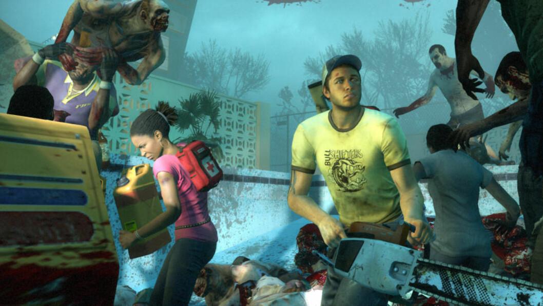 <strong>LEFT 4 DEAD 2:</strong> En gruppe på fire overlevende kjemper mot innpåslitne zombier i Left 4 Dead-serien. Spillene kan være på vei til PS3 også. (Valve/EA).