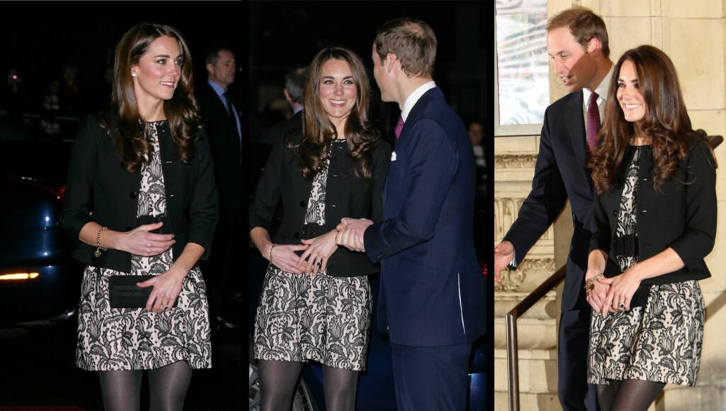 GRAVID? Hertuginne Kate gjorde hva hun kunne for å skjule magen da hun og William viste seg for offentligheten tirsdag denne uka. Foto: All over press