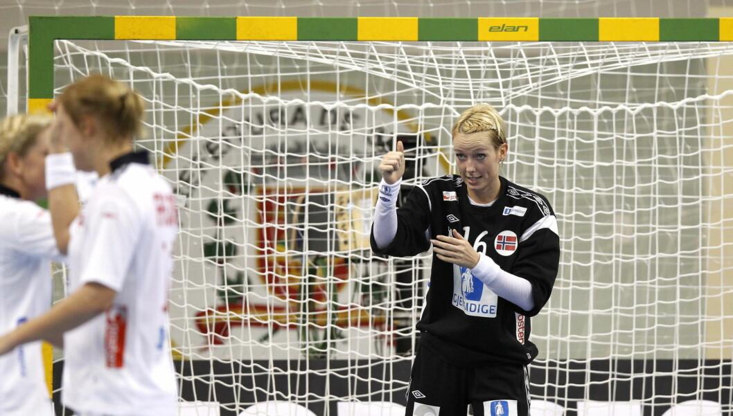 SLO TIL: Katrine Lunde Haraldsen og Norge slo til med kalasseier mot Kina søndag. Foto: Scanpix