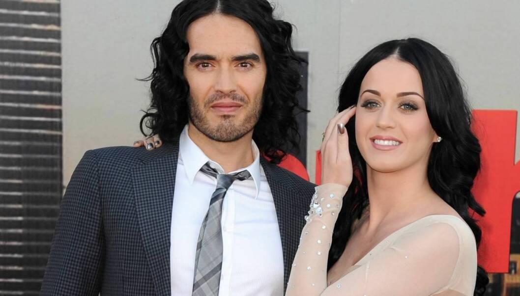 LYKKELIG GIFT: Russell Brand og Katy Perry. Foto: All Over Press