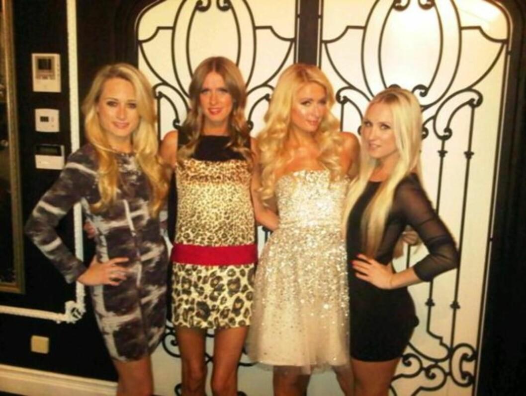 PARTYJENTER: Her poserer Hilton-søstrene sammen med et par flotte venninner.  Foto: Twitter