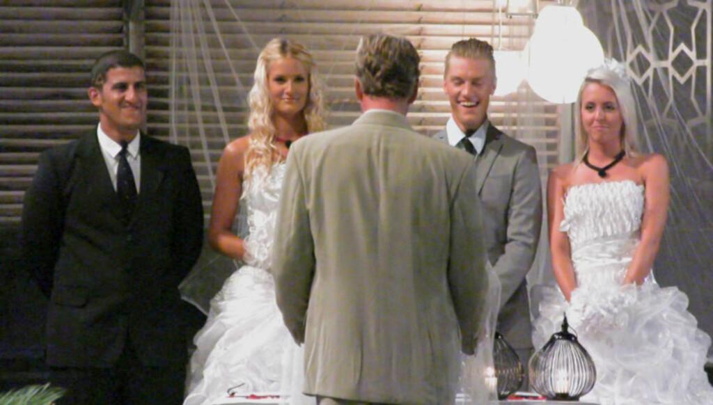 DOBBELTBRYLLUP: Realitydeltagerne Khalid Hacham, Tina Klafstadbakken, Niklas Røseth og Irmelin Jensen blir alle lovet 40 000 kroner til hvert sitt lag i serien «Fristet», dersom de gifter seg foran TV-kameraene. Foto: TV3