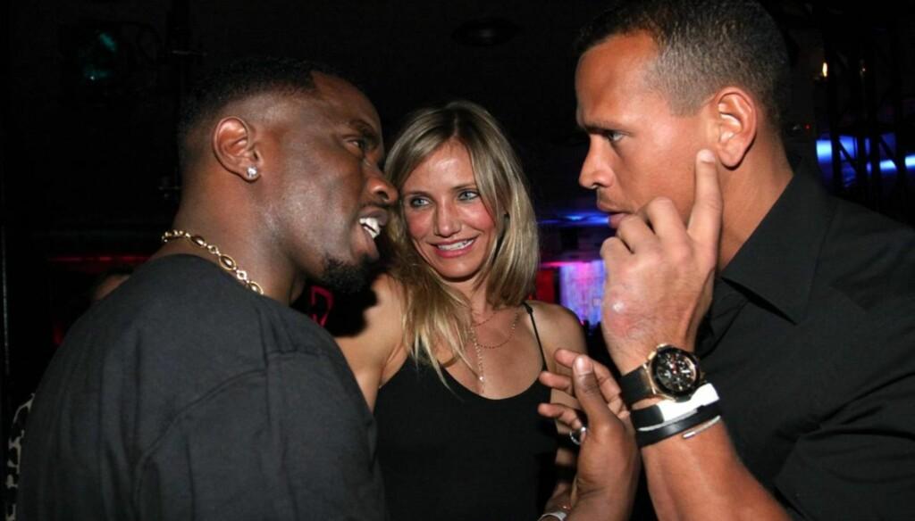 LANGE BLIKK: Cameron Diaz skal ha gjenopptatt kontakten med P. Diddy (til venstre) etter bruddet med Alex Rodriguez. Foto: All Over Press