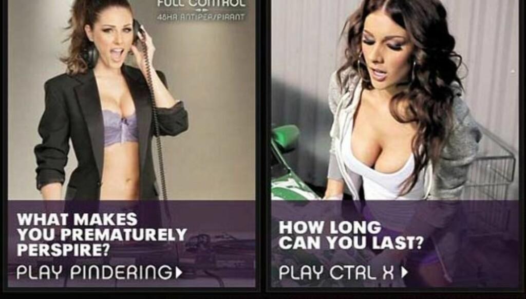 FOR STERKT FOR BRITENE: Det britiske reklametilsynet har bannlyst disse reklamene med modellen Lucy Pinder, fordi de mener den er nedverdigende mot kvinner.