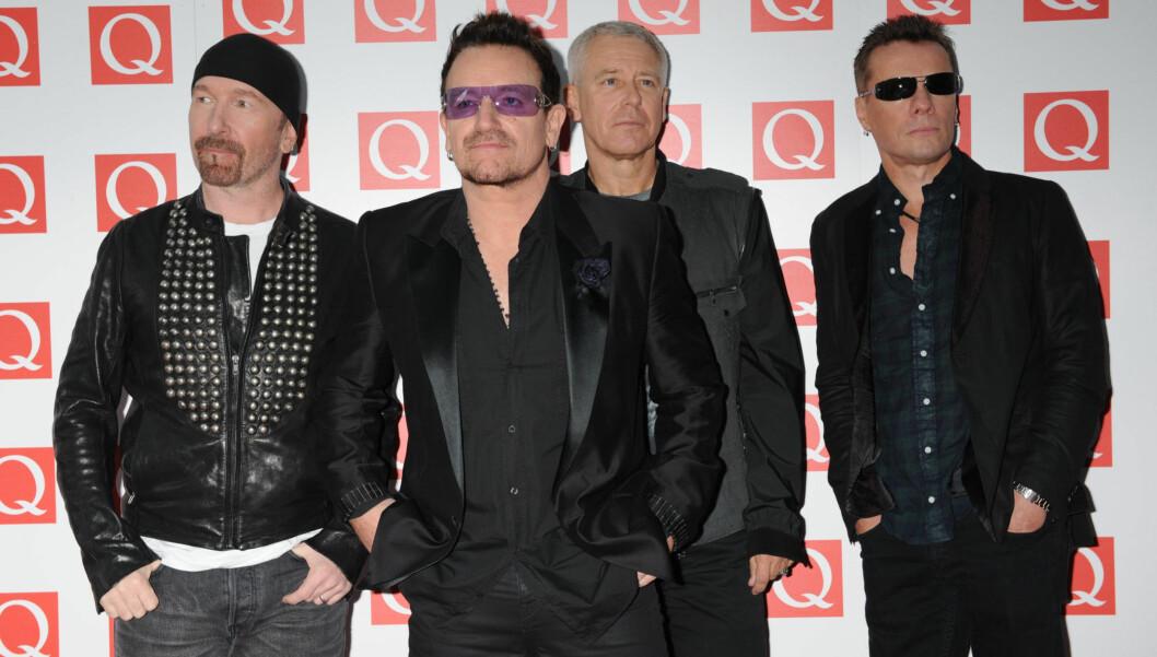 VANSKELIG Å BO MED: David Howell Evans, Larry Mullen Jr og Adam Clayton forteller at det var vanskelig å bo sammen med vokalisten Bono, da bandet delte et hus i California på 1980-tallet.  Foto: All Over Press