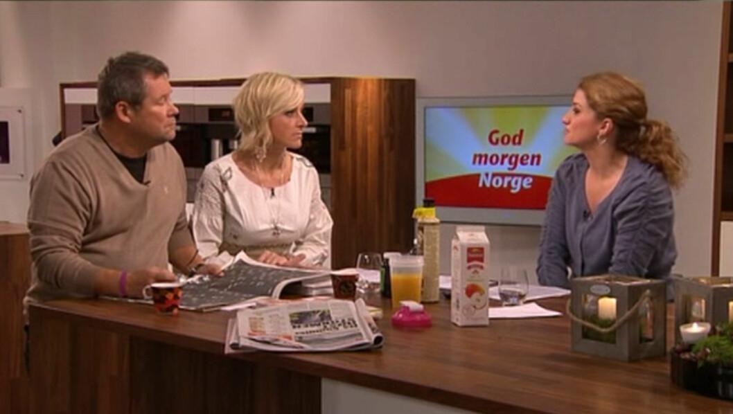 FREKK I KJEFTEN: «Du... Er det mange norsklærere som sender deg brev og sier at du ikke må si skjysten», sa en småfrekk Vår Staude til May Lisbeth Midtgård Myrvang i «God morgen Norge».  Foto: TV 2