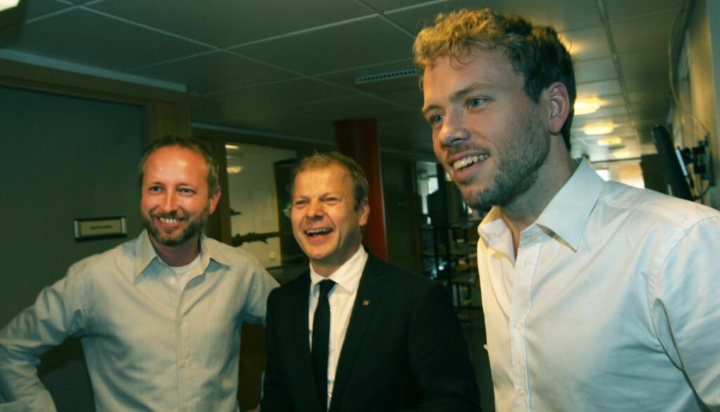 GODE KOLLEGER:  Heikki Holmås (midten) er sammen med Audun Lysbakken en av kandidatene til å ta over rollen som leder i SV etter Kristin Halvorsen. Til venstre partikollega Bård Vegar Solhjell. Foto: Scanpix