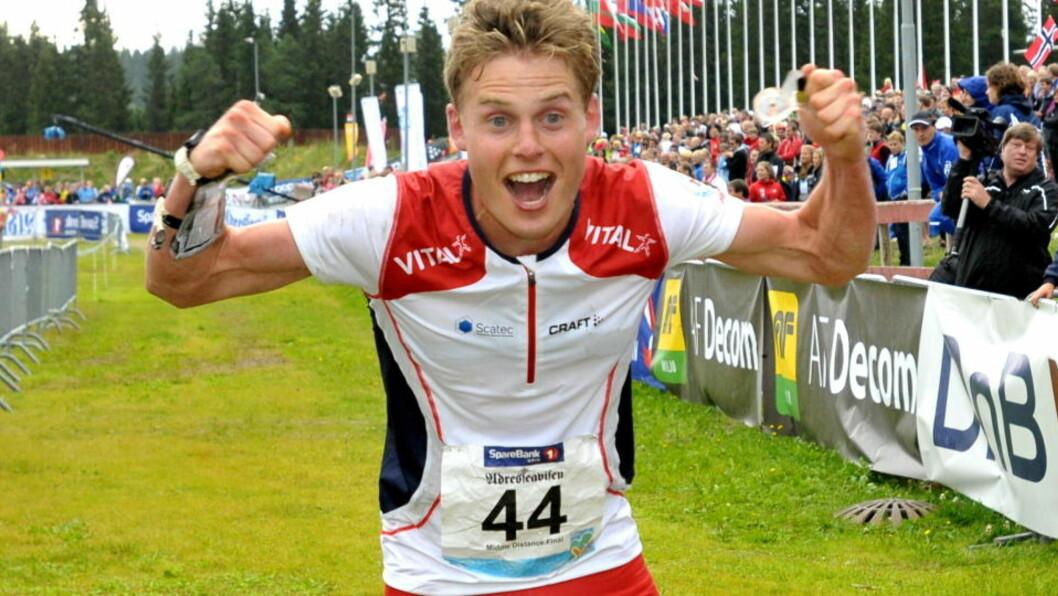 GULLGUTT: Carl Waaler Kaas løp inn til gull under mellomdistanse finale i orienterings-VM på Granåsen i Trondheim lørdag. Foto: Ned Alley / Scanpix