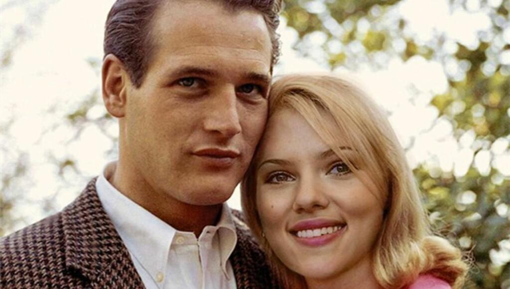 UMULIG PAR: Scarlett Johansson ser svært forelsket ut på dette bildet, men partneren er den avdøde filmstjernen Paul Newman, som er montert sammen med henne. Foto: Stella  Pictures