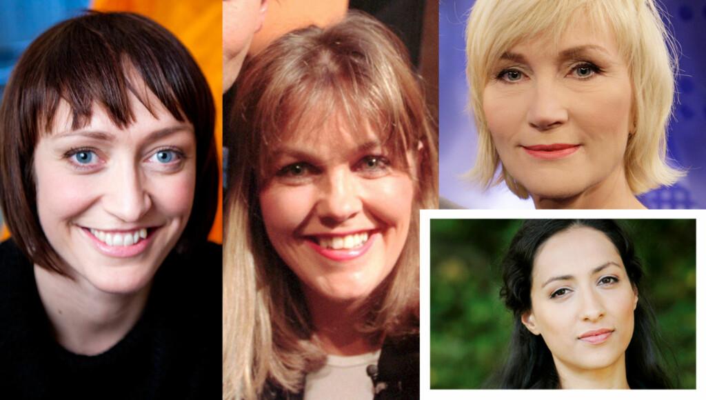 SLÅR MENNENE: NRKs Ingerid Stenvold, Ingvild Bryn og Nina Owing har grunn til å smile. TV 2s Mah-Rukh Ali er ikke kjønnsvinner. Foto: Scanpix