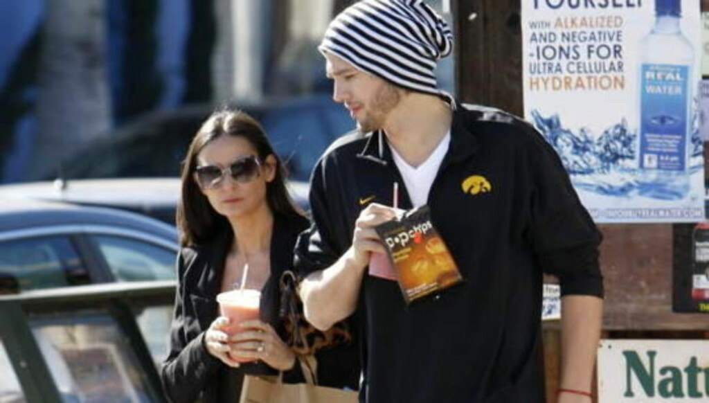 RYKTER: Forholdet har den siste tiden vært rystet av utrorykter, men både Demi Moore og Ashton Kutcher hadde på seg forlovelsesringene onsdag. Foto: Stella Pictures