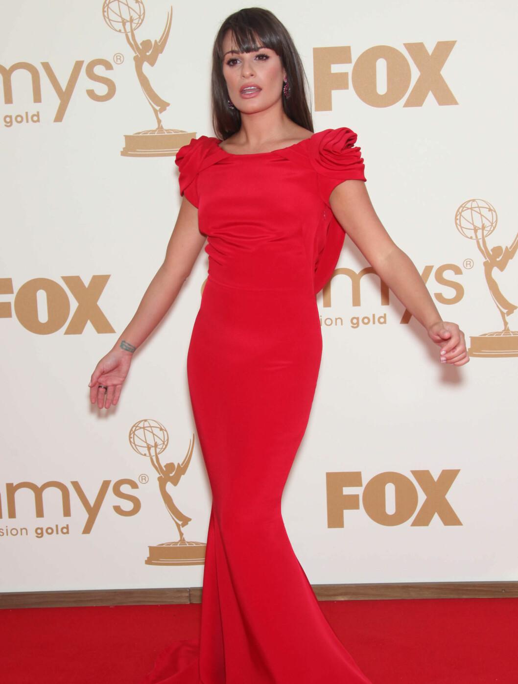 <strong>LEKKER:</strong> Glee-stjernen Lea Michelle i en Marchesa-kjole. Foto: Stella Pictures