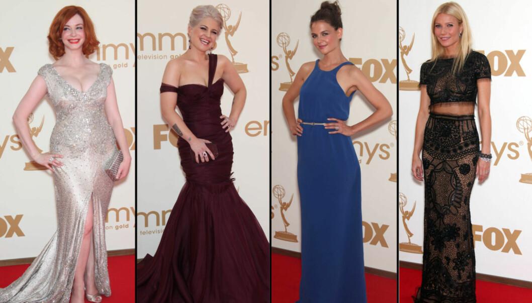 <strong>STORE STJERNER:</strong> Christina Hendricks, Kelly Osbourne, Katie Holmes og Gwyneth Paltrow strålte på Emmy-utdelingen. Foto: Stella Pictures