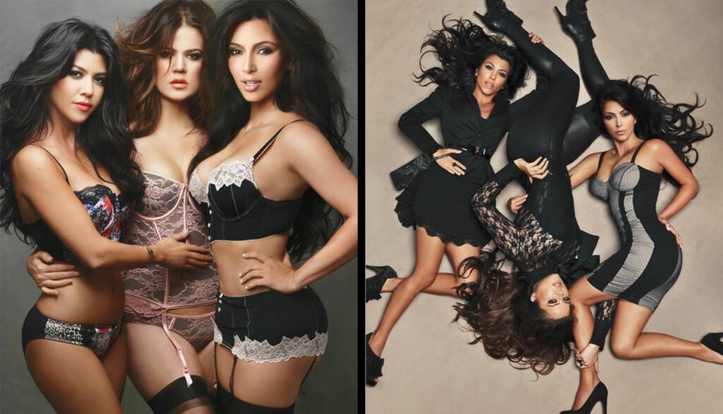 FLOTTE FIGURER: Kim Kardashians (til høyre på begge bilder) hemmelighet blir avslørt av søstrene Khloe og Kourtney. Her poserer de i sin undertøyskolleksjon. Foto: Stella Pictures