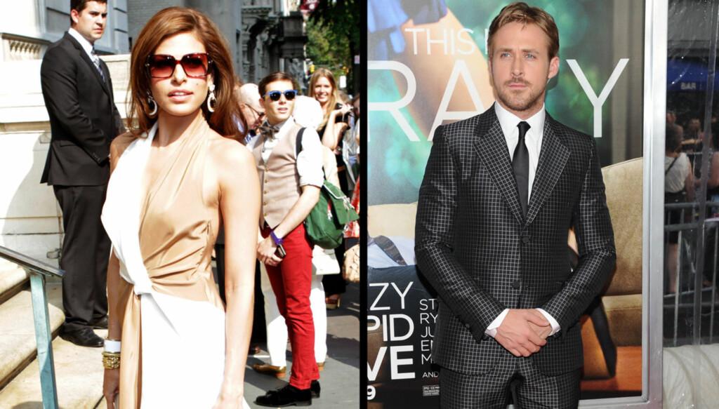SUPERPAR: Eva Mendes og Ryan Gosling spiller for tiden inn film sammen. Nå har de tidligere vennene tatt steget videre og blitt sammen. Foto: All Over Press