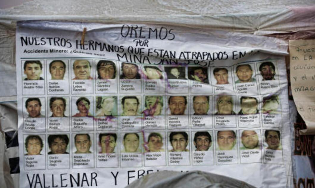 <strong>FANGET:</strong> De 33 gruvearbeiderne som er fanget under jorda. Foto: AFP