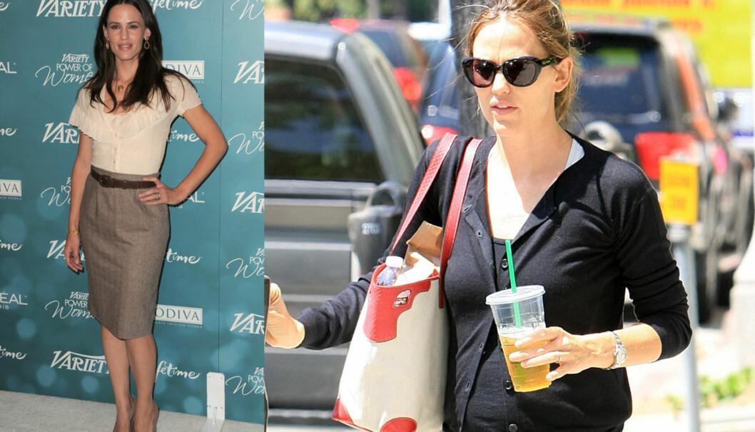 FØR OG NÅ: Jennifer Garner var betydelig slankere for ett år siden enn hun er i dag. Den lille magen har fått amerikanske tabloider til å spekulere i graviditet.  Foto: All Over Press
