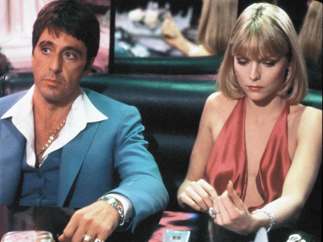 «SCARFACE»: Originalfilmen hadde premiere i 1983. Her med Al Pacino og Michelle Pfeiffer.  Foto: Stella Pictures