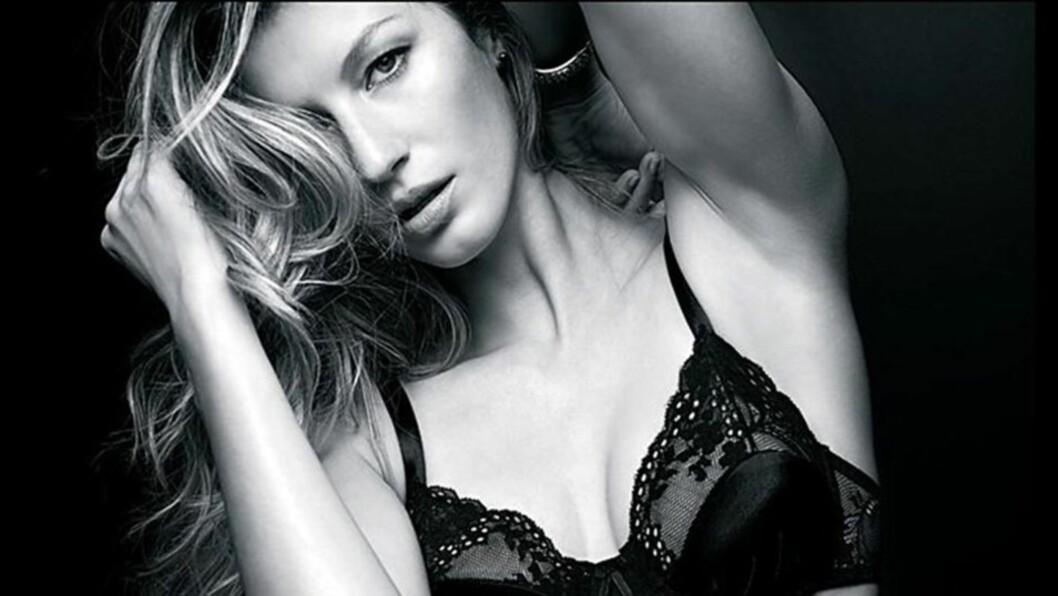 SEXY: Supermodell Gisele Bünchen bruker like gjerne seg selv som modell i sin egendesignede undertøyskolleksjon «Burlesque». Tidligere var hun en av hovedattraksjonene på undertøysmerket Victoria's Secret sine spektakulære show.  Foto: Stella  Pictures