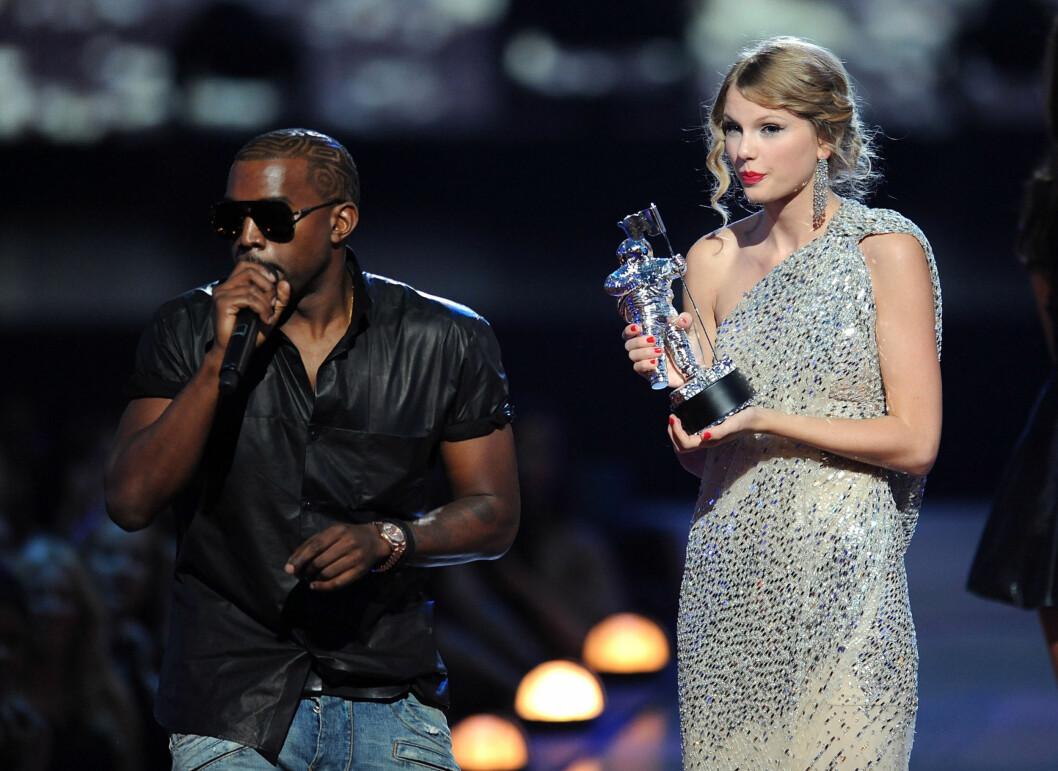 ØDELA: Kanye West måtte beklage seg overfor fansen og Taylor Swift etter at han ødela hennes takketale under MTV Video Music Awards i 2009. Foto: All Over Press
