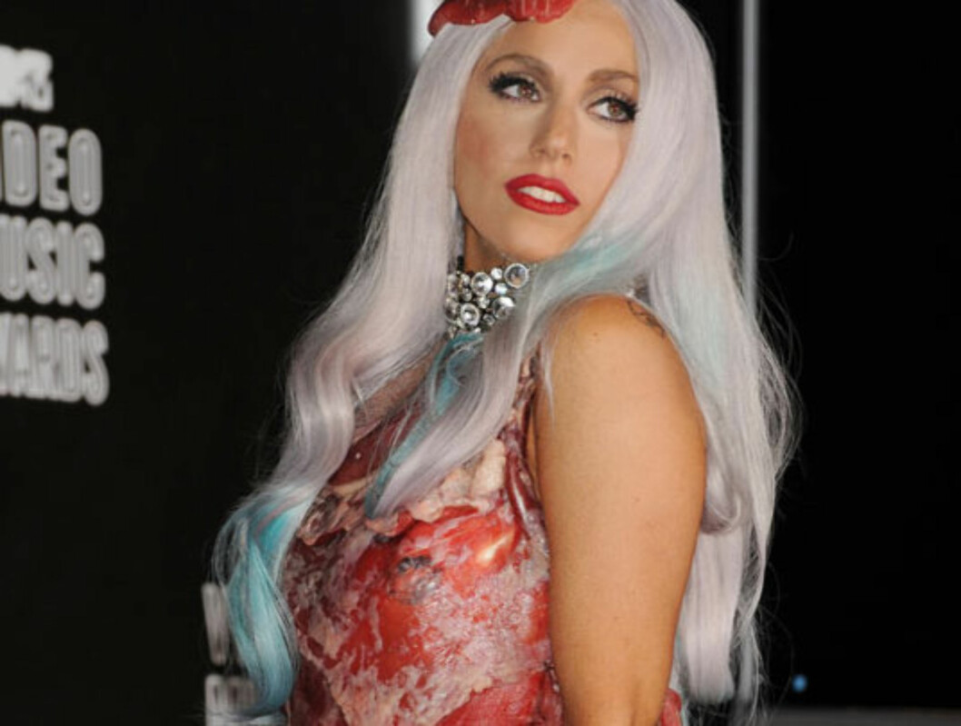 SKAPTE FURORE: Den alltid like uforutsigbare Lady Ga Ga skapte furore blant verdens dyrevenere da hun troppet opp på MTV-show i en kjole bestående av kjøtt i 2010. Foto: Stella  Pictures