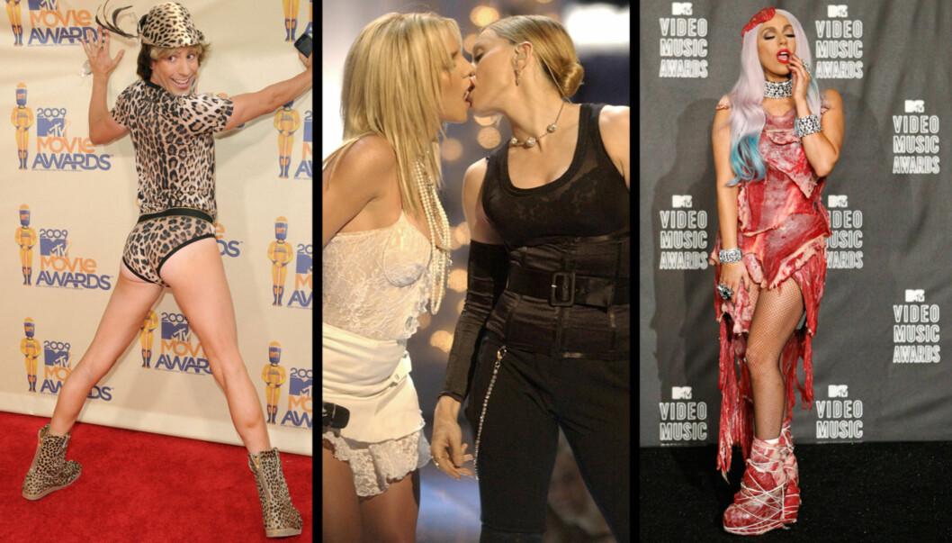 30 ÅR: Flere stjerner har sjokkert for åpent kamera på MTV de siste årene. Mandag fyller musikk-kanalen 30 år. Foto: Stellapictures