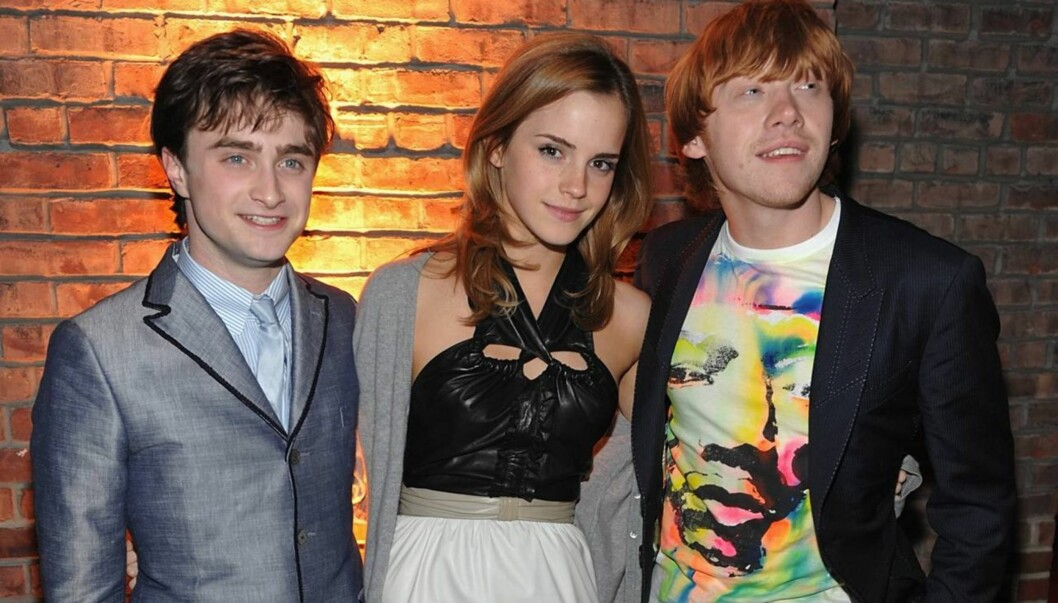 <strong>FILMSUKSESS:</strong> Radcliffe gjorde stor suksess i rollen som Harry Potter. Her er han med motspillerne Emma Watson og Rupert Grint. Foto: All Over Press