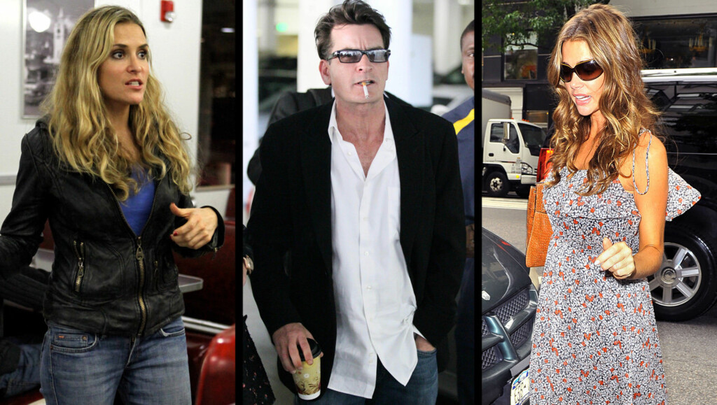 BLIR NABOER: Brooke Mueller, Charlie Sheen og Denise Richards. Foto: All Over Press