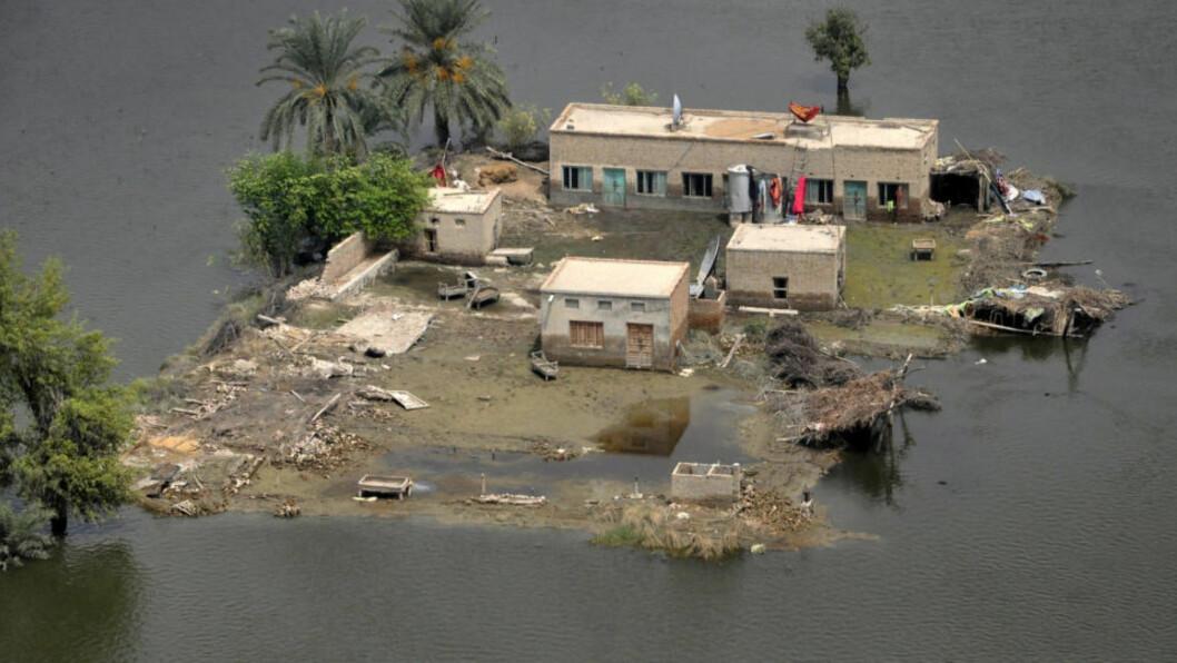 <strong>ENDEN ER NÆR:</strong> Mer aktivisme blir avgjørende for at verden ikke skal forgå i menneskeskapte klimaendringer med påfølgende naturkatastrofer, mener Aleksander Melli. Bildet viser en oversvømmelse i en landsby i Punjab-provinsen i Pakistan. Foto: Asim Tanveer/Reuters.